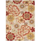 Josephine Hand-Hooked Ivory / Red Area Rug Rug Size: Rectangle 4' x 6'