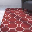 Evangeline Hand-Tufted Red Indoor/Outdoor Area Rug Size: Round 8'