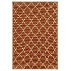 Heidy Geometric Orange/Ivory Indoor/Outdoor Area Rug Rug Size: Round 7'10