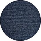 Morton Hand-Loomed Dark Blue Area Rug Rug Size: Round 8'