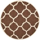 Charlenne Wool Dark Brown/Ivory Area Rug Rug Size: Round 6'