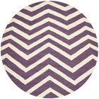 Charlenne Hand-Tufted Purple/Ivory Area Rug Rug Size: Round 6'
