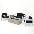 Villegas 5 Piece Sofa Set with Cushions Cushion Color: Navy Blue/Light Gray