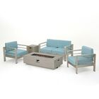 Berryville 5 Piece Aluminum Conversation Set with Cushions Color: Light Gray