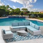 Glendon 6 Piece Rattan Sectional Set with Cushions Cushion Color: Teal