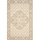 Apache Hand-Hooked Ivory & Gold Area Rug Rug Size: Rectangle 9' x 12'