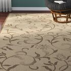 Swirling Garden Creme / Brown Area Rug Rug Size: Rectangle 4' x 5'7
