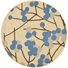 Short Natural Accent Brown / Blue Rug Rug Size: Round 6'7