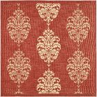 Short Red/Natural Outdoor Rug Rug Size: Square 6'7