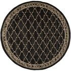 Short Black & Sand Checked Area Rug Rug Size: Round 7'10