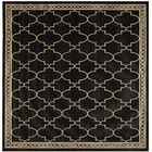 Short Black & Sand Checked Area Rug Rug Size: Square 7'10