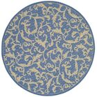 Short Persian Blue Area Rug Rug Size: Round 6'7