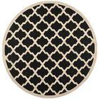 Short Black/Beige Trellis Outdoor Rug Rug Size: Round 5'3
