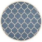 Short Blue/Beige Indoor/Outdoor Area Rug Rug Size: Round 5'3
