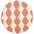 Short Beige/Terracotta Contemporary Rug Rug Size: Round 5'3
