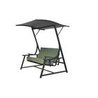 Marquette Glider Porch Swing with Stand Cushion Fabric: Green