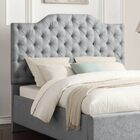 Worcester Button Tufted Damask Pool Upholstered Panel Headboard Size: Queen