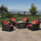 Northridge 5 Piece Rattan Sunbrella Conversation Set with Cushions Fabric: Sunset Red