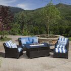 Northridge 5 Piece Rattan Sofa Set with Cushions Fabric: Regatta Blue