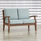 Brook Hollow Patio Loveseat Fabric: Spa Blue, Finish: Brown