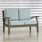 Brook Hollow Patio Loveseat Fabric: Spa Blue, Finish: Gray