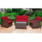 Binney 4 Piece Sofa Set with Cushions Color: Chocolate, Fabric: Merlot