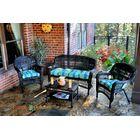 Baden 4 Piece Sofa Set with Cushions Color: Dark Roast, Fabric: Haliwell Caribbean