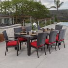 Evansville 9 Piece Outdoor Dining Set with Cushion Color: Sunset Red