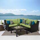 Northridge 4 Piece Sunbrella Sectional Seating Group with Cushions Fabric: Gingko Green
