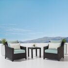 Northridge 3 Piece Sunbrella Conversation Set with Cushions Fabric: Spa Blue