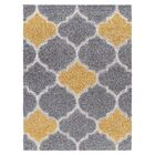 Swedish Hill Platinum Shag Gray/Yellow Area Rug Rug Size: Square 6' x 6'