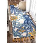Blue/Yellow Area Rug Rug Size: Rectangle 5' x 8'