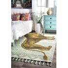 Hand Flat Woven Cotton Green/Yellow Area Rug Rug Size: Rectangle 4' x 6'