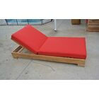Reclining Teak Chaise Lounge with Cushion Fabric: Iris