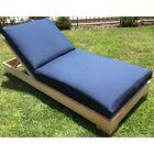 Reclining Teak Chaise Lounge with Cushion Fabric: Indigo