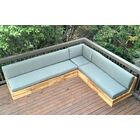 Seaside Teak Patio Sectional with Sunbrella Cushions Fabric: Palm