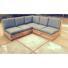 Seaside 5 Piece Teak Sunbrella Sectional Set with Cushions Fabric: Granite