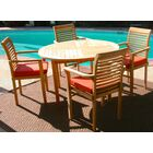 Teak 5 Piece Sunbrella Dining Set with Cushions Cushion Color: Ginko