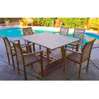 Teak 7 Piece Sunbrella Dining Set with Cushions Cushion Color: Flax