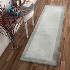 Angie Transitional Ombre Border Distressed Gray Area Rug Rug Size: Runner 2'3