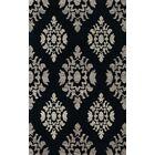 Bella Machine Woven Wool Black/Gray Area Rug Rug Size: Round 4'