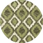 Bella Machine Woven Wool Green Area Rug Rug Size: Round 10'