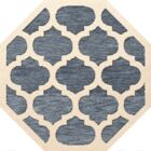 Bella Machine Woven Wool Blue/Beige Area Rug Rug Size: Octagon 4'