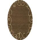 Bella Machine Woven Wool Brown Area Rug Rug Size: Oval 5' x 8'