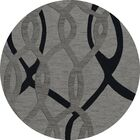 Bella Machine Woven Wool Gray Area Rug Rug Size: Round 10'