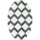Bella Blue/White Area Rug Rug Size: Oval 3' x 5'