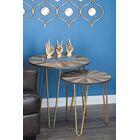 2 Piece Metal/Wood End Table Set