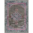 Fender Hand-Knotted Charcoal/Blue/Pink Area Rug Rug Size: 3'6