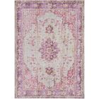 Kahina Vintage Distressed Oriental Bright Pink Area Rug Rug Size: Rectangle 3'11