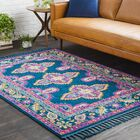 Hallwood Boho Medallion Tassel Blue/Pink Area Rug Rug Size: Rectangle 9'3
